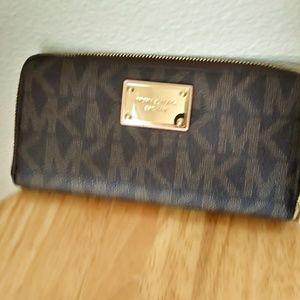 Michael Kors Brown Zip Around Wallet